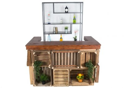 Houten kistjes bar + medium steel backbar